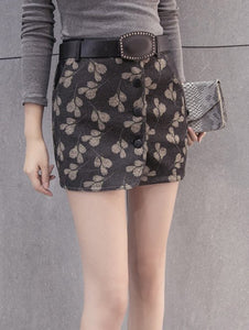 Material: Cotton,Cotton Blends,Polyester,Wool  Length: Mini  Silhouette: Bodycon  Pattern Type: Print  Embellishment: Front Pocket  Season: Fall,Spring,Winter  With Belt: Yes  Weight: 0.410kg  Package Contents: 1 x Skirt  1 x Belt
