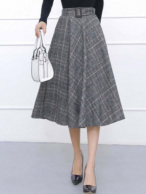 Material: Cotton,Cotton Blends,Polyester,Wool  Length: Mid-Calf  Silhouette: Ball Gown  Pattern Type: Plaid  Embellishment: Vintage  Season: Fall,Spring,Winter  With Belt: Yes  Weight: 0.520kg  Package Contents: 1 x Skirt  1 x Belt