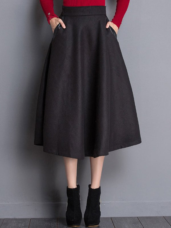 Material: Cotton,Cotton Blends,Polyester,Wool  Length: Mid-Calf  Silhouette: A-Line  Pattern Type: Solid  Embellishment: Pockets  Season: Fall,Winter  With Belt: No  Weight: 0.520kg  Package Contents: 1 x Skirt