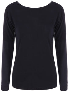 Loose Open Back Long Sleeve T-Shirt