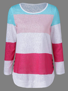 Colorful Striped Button Embellished T-Shirt