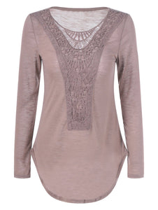 Lace Crochet Scoop Neck T-Shirt
