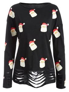 Cartoon Father Christmas Print Ripped Top