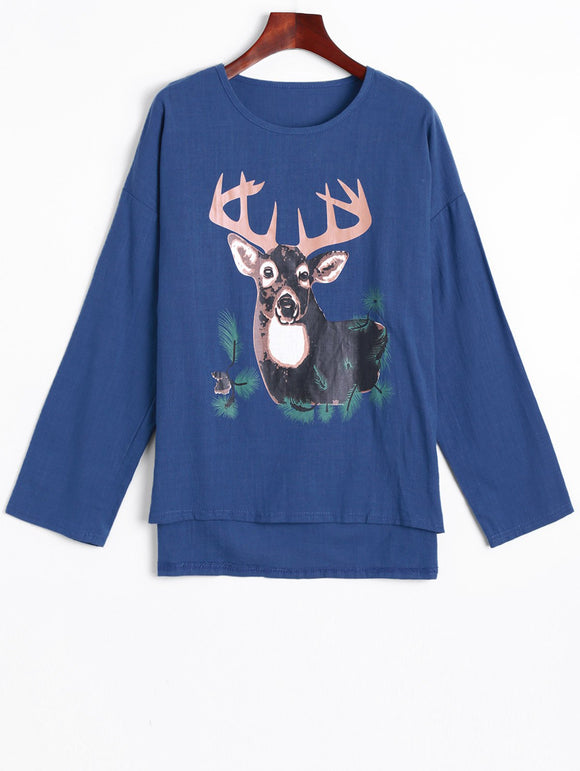 High Low Deer Print Linen T-Shirt
