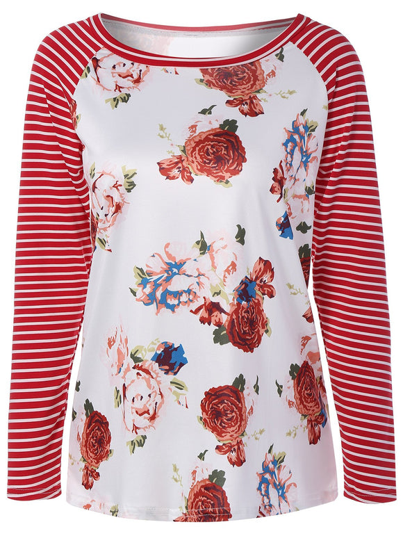 Floral Raglan Sleeve Tee With Stripe Panel