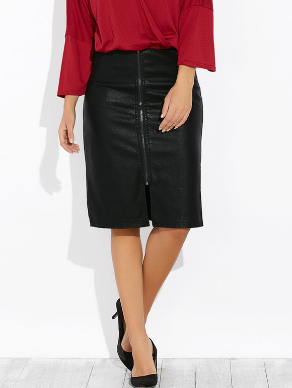 Material: Faux Leather  Length: Knee-Length  Silhouette: Pencil  Pattern Type: Solid  Season: Fall,Spring  Weight: 0.470kg  Package Contents: 1 x Skirt