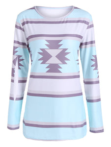 Geometric Print Striped Slimming Tee