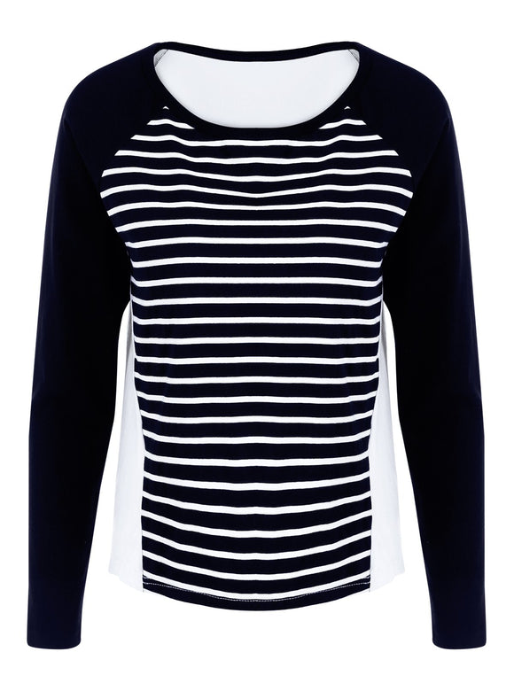 Vertical Striped Raglan Sleeve T-Shirt