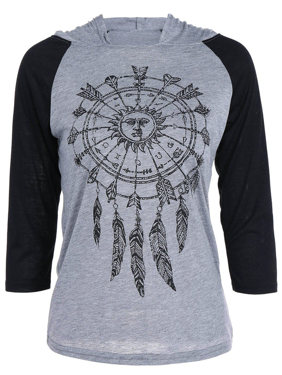 Dreamcatcher Pattern Raglan Sleeve T-Shirt