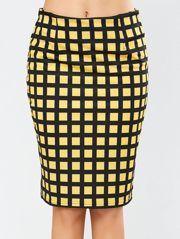Material: Polyester  Length: Knee-Length  Silhouette: Pencil  Pattern Type: Plaid  Season: Fall,Spring,Summer  Weight: 0.370kg  Package Contents: 1 x Skirt