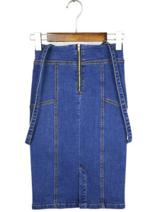 Material: Cotton Blends,Jeans  Fabric Type: Denim  Length: Knee-Length  Silhouette: Pencil  Pattern Type: Solid  Season: Fall,Spring,Summer,Winter  With Belt: No  Weight: 0.470kg  Package Contents: 1 x Skirt