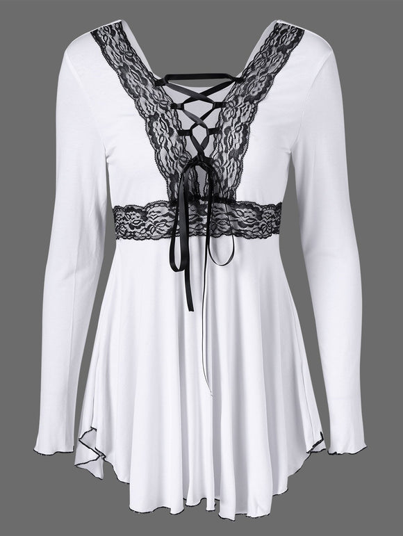 Lace Trim Empire Waist Tee