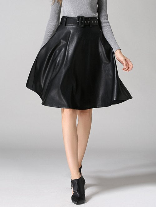 Material: Genuine Leather  Length: Knee-Length  Silhouette: A-Line  Pattern Type: Solid  Season: Fall,Spring  Weight: 0.420kg  Package Contents: 1 x Skirt