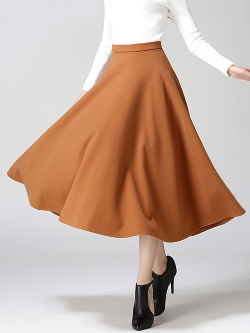 Material: Polyester,Wool  Length: Mid-Calf  Silhouette: A-Line  Pattern Type: Solid  Season: Fall,Spring,Winter  Weight: 0.370kg  Package Contents: 1 x Skirt