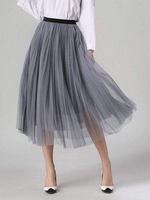 Material: Polyester  Length: Mid-Calf  Silhouette: A-Line  Pattern Type: Solid  Embellishment: Pleated  Season: Fall,Spring,Summer  Weight: 0.320kg  Package Contents: 1 x Skirt