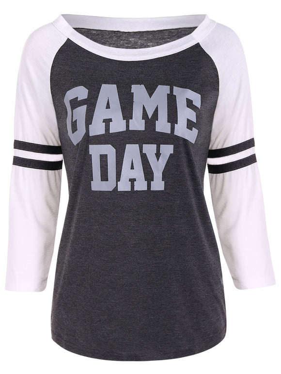 Game Day Print Raglan Sleeves Tee
