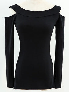 Fitted Long Sleeve Off The Shoulder Tee