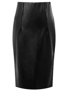 Material: Faux Leather,Polyester  Length: Knee-Length  Silhouette: Bodycon  Pattern Type: Solid  Season: Fall,Spring  With Belt: No  Weight: 0.300kg  Package Contents: 1 x Skirt