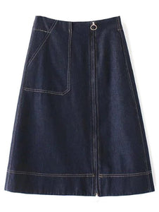 Material: Cotton Blends  Fabric Type: Denim  Length: Mid-Calf  Silhouette: A-Line  Pattern Type: Solid  Season: Fall  Weight: 0.470kg  Package Contents: 1 x Skirt