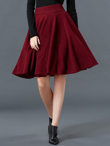 Material: Polyester,Wool  Length: Knee-Length  Silhouette: A-Line  Pattern Type: Solid  Season: Fall,Spring  Weight: 0.370kg  Package Contents: 1 x Skirt