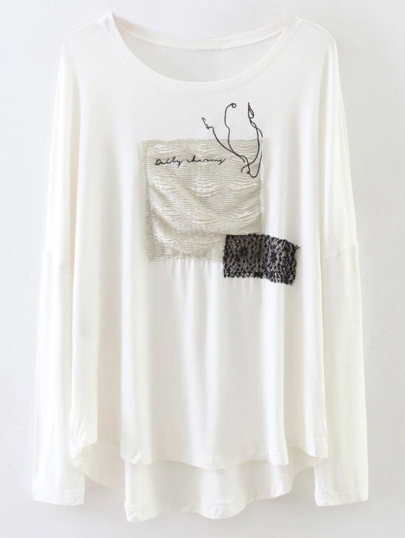 Patched Long Sleeve Casual Tee