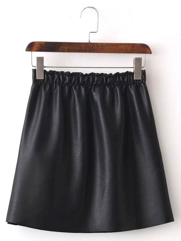 Material: Faux Leather,Polyester  Length: Mini  Silhouette: A-Line  Pattern Type: Solid  Embellishment: Flocking  Season: Winter  Weight: 0.520kg  Package Contents: 1 x Skirt