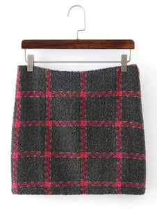 Material: Cotton Blends,Polyester,Wool  Length: Mini  Silhouette: Bodycon  Pattern Type: Plaid  Embellishment: Vintage  Season: Winter  With Belt: No  Weight: 0.570kg  Package Contents: 1 x Skirt