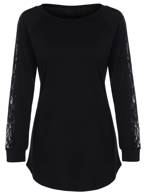 Raglan Sleeve Lace Panel T-Shirt