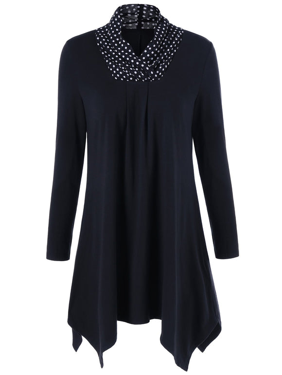 Polka Dot Trim Asymmetrical Tee