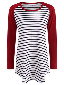 Casual Striped Raglan Sleeve T Shirt
