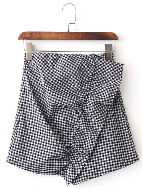 Material: Polyester  Length: Mini  Silhouette: Asymmetrical  Pattern Type: Plaid  Season: Summer  Weight: 0.270kg  Package Contents: 1 x Skirt