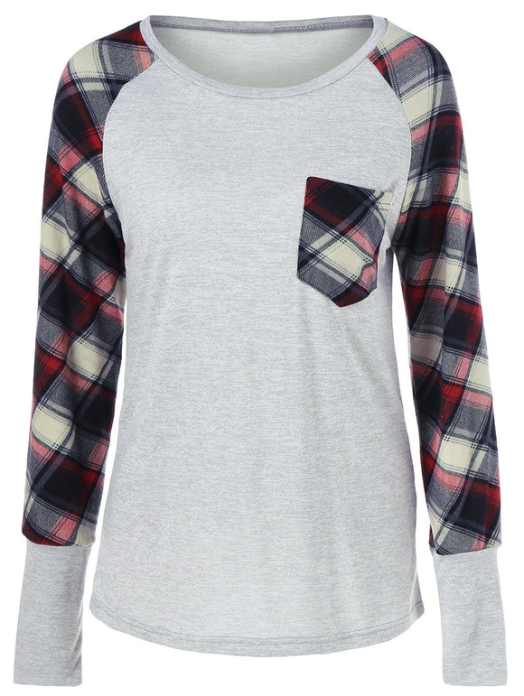 Raglan Sleeve Plaid Trim T-Shirt