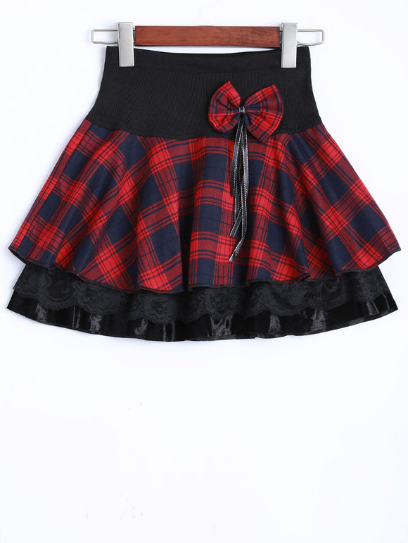 Material: Polyester  Length: Mini  Silhouette: A-Line  Pattern Type: Plaid  Season: Fall,Spring  Weight: 0.470kg  Package Contents: 1 x Skirt