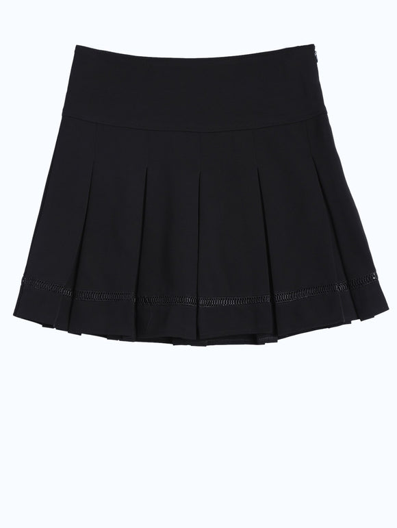 Material: Polyester  Length: Mini  Silhouette: Pleated  Pattern Type: Solid  Embellishment: Hollow Out  Season: Fall,Winter  With Belt: No  Weight: 0.370kg  Package Contents: 1 x Skirt