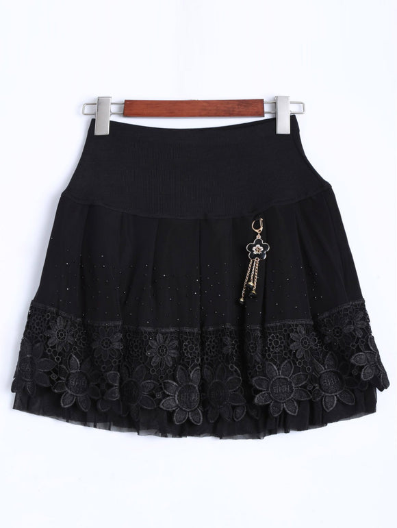 Material: Polyester  Length: Mini  Silhouette: A-Line  Pattern Type: Floral  Embellishment: Lace  Season: Fall,Winter  With Belt: No  Weight: 0.370kg  Package Contents: 1 x Skirt