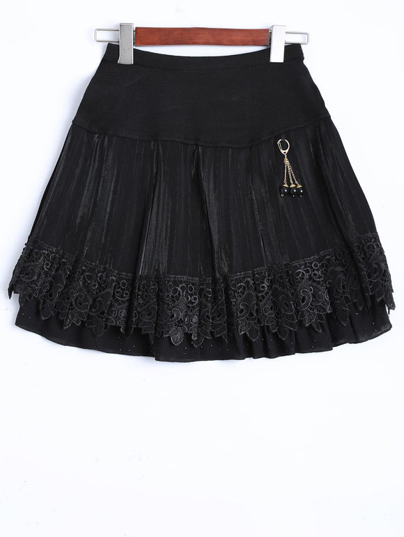 Material: Polyester  Length: Mini  Silhouette: A-Line  Pattern Type: Solid  Embellishment: Lace  Season: Fall,Winter  With Belt: No  Weight: 0.370kg  Package Contents: 1 x Skirt