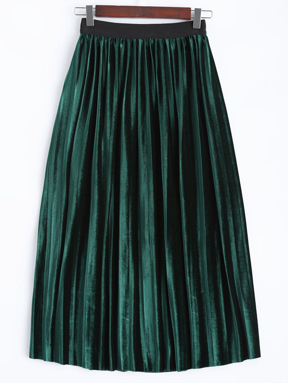 Material: Polyester  Fabric Type: Velour  Length: Mid-Calf  Silhouette: A-Line  Pattern Type: Solid  Embellishment: Pleated  Season: Fall,Spring,Winter  Weight: 0.370kg  Package Contents: 1 x Skirt