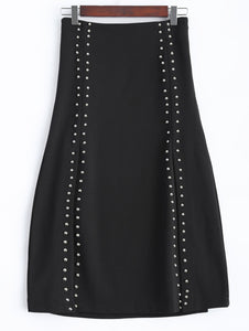 Material: Polyester  Length: Mid-Calf  Silhouette: A-Line  Pattern Type: Others  Embellishment: Rivet  Season: Fall,Spring,Winter  Weight: 0.370kg  Package Contents: 1 x Skirt