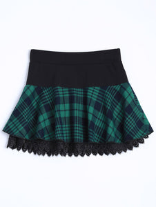 Material: Polyester  Length: Mini  Silhouette: A-Line  Pattern Type: Plaid  Embellishment: Lace  Season: Fall,Winter  With Belt: No  Weight: 0.370kg  Package Contents: 1 x Skirt