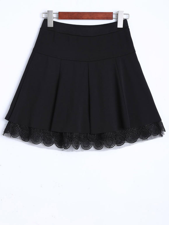 Material: Polyester  Length: Mini  Silhouette: A-Line  Pattern Type: Solid  Embellishment: Pleated  Season: Fall,Winter  With Belt: No  Weight: 0.370kg  Package Contents: 1 x Skirt