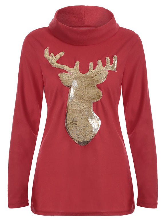 Christmas Elk Sequin High Neck T-Shirt