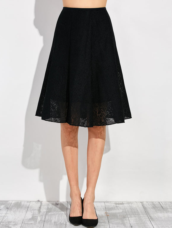 Material: Cotton Blends,Lace  Length: Knee-Length  Silhouette: A-Line  Pattern Type: Solid  Embellishment: Ruched  Season: Fall,Spring,Summer,Winter  With Belt: No  Weight: 0.370kg  Package Contents: 1 x Skirt