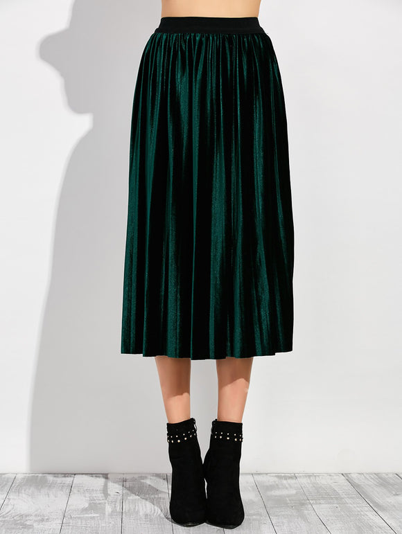 Material: Polyester  Length: Mid-Calf  Silhouette: Pleated  Pattern Type: Solid  Season: Fall,Spring,Winter  Weight: 0.370kg  Package Contents: 1 x Skirt