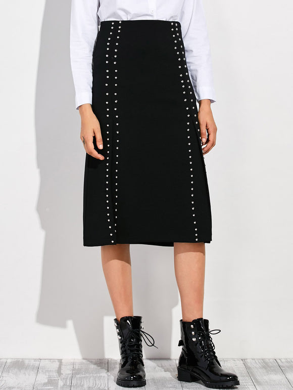 Material: Polyester  Length: Mid-Calf  Silhouette: A-Line  Pattern Type: Solid  Embellishment: Rivet  Season: Fall,Spring,Winter  Weight: 0.370kg  Package Contents: 1 x Skirt