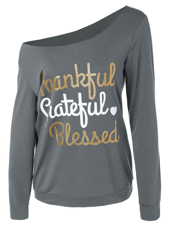 Thanksgiving Letter Graphic Skew Collar Tee
