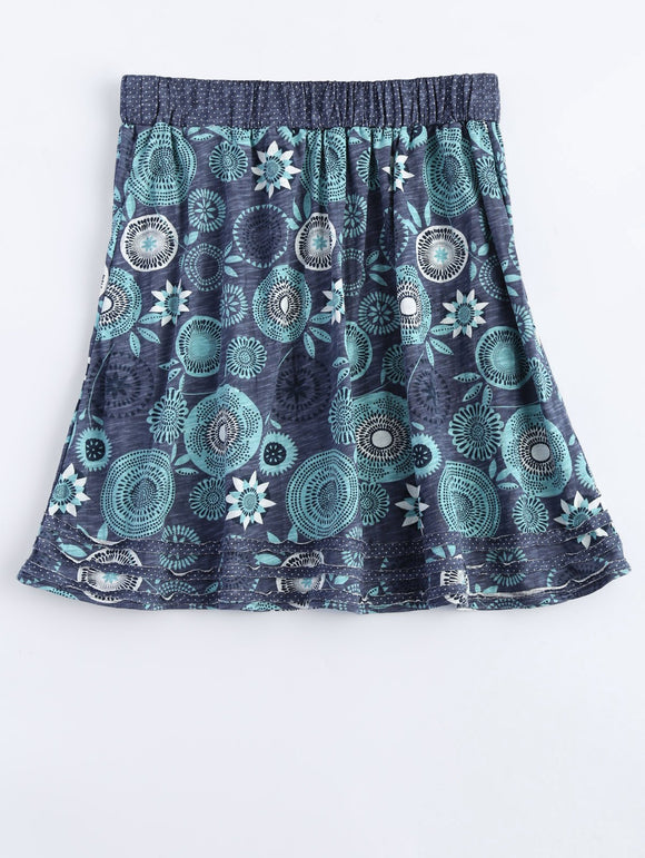 Material: Cotton  Length: Mini  Silhouette: A-Line  Pattern Type: Floral  Embellishment: Patch Designs  Season: Fall,Spring,Summer,Winter  Elasticity: Elastic  With Belt: No  Weight: 0.370kg  Package Contents: 1 x Skirt