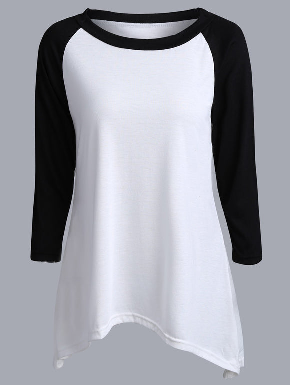Two Tone Asymmetrical Raglan Sleeve T-Shirt