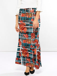 Material: Polyester  Length: Ankle-Length  Silhouette: A-Line  Pattern Type: Plaid  Season: Fall  With Belt: No  Weight: 0.370kg  Package Contents: 1 x Skirt