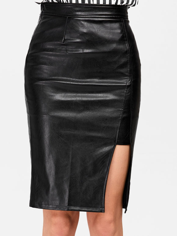 Material: Faux Leather  Length: Knee-Length  Silhouette: Straight  Pattern Type: Solid  Season: Fall,Spring,Summer,Winter  With Belt: No  Weight: 0.470kg  Package Contents: 1 x Skirt