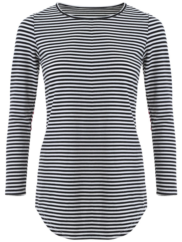Long Sleeve Stripe Knit T-Shirt